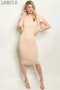Larole  short Sleeveless ruffled beige  midi cocktail dress