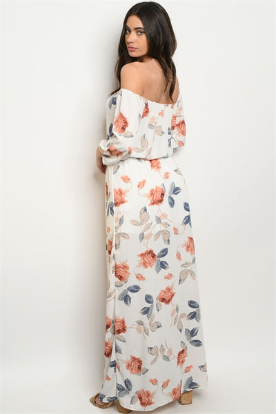 Long Sleeve Off The Shoulder Floral Maxi Dress