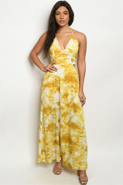Yellow Sleeveless Sweetheart Neckline Tie Dye Maxi Dress
