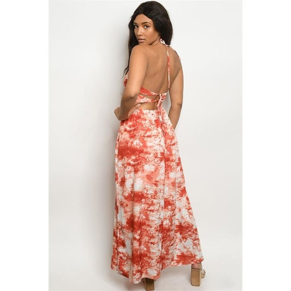 Red Sleeveless Sweetheart Neckline Tie Dye Maxi Dress