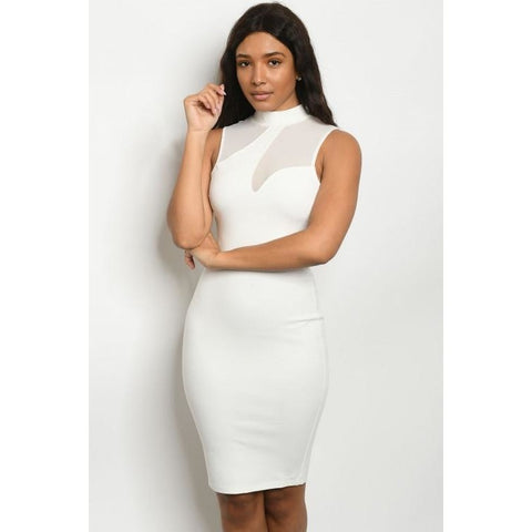 Sleeveless High Neck Mesh Detail White Bodycon Dress