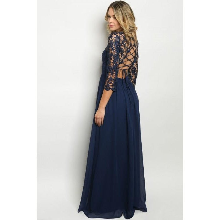 Tie Back 3/4 Sleeve Blue Flowy Floor Length Maxi Dress