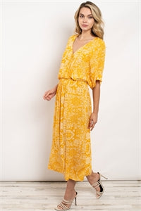 Yellow Half Sleeve V-neck Paisley Print Maxi Dress.