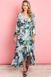 Long Flounce Sleeve V-neck Crossover High-Low Printed Maxi Dress