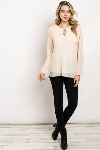 Long Flare Sleeve Round Tie Neck Overlay Tunic Blouse