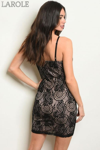 LAROLE BLACK NUDE MINI DRESS