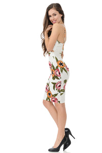 Spaghetti strap floral short dress