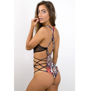 Embroidery Women's Piece Of Swimsuit Animal Print