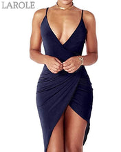 Load image into Gallery viewer, Sexy Deep V Neck Backless Slit Mini Dress Clubwear