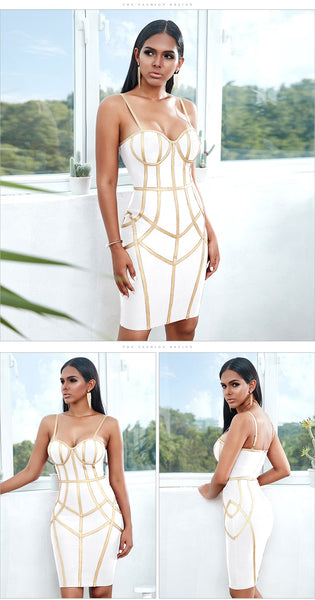 Black Sexy Spaghetti Strap Sleeveless Club Hot Bodycon Bandage Dress- Available in White, blue, red, yellow and black