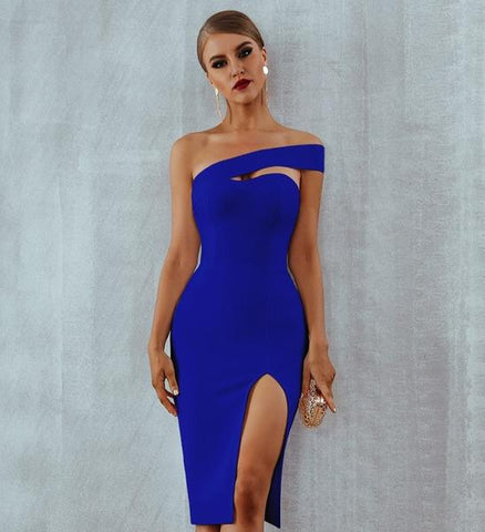 Side Slit Elegant  One Shoulder Midi Party Dresses - More Colors Available
