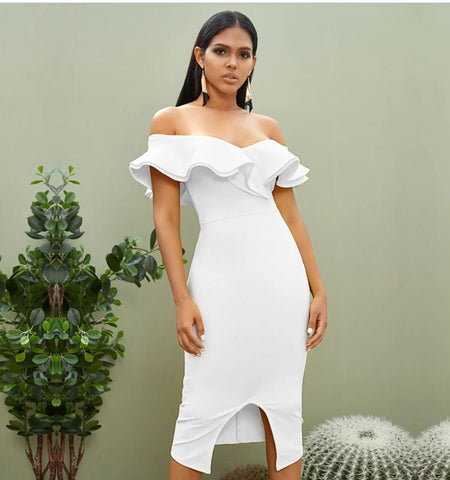 White Off the Shoulder Midi Dresses