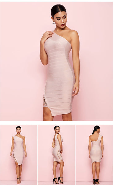 Beige Sleeveless One-Shoulder Sequined Sexy Night Out Party Dress - More Colors Option Available!