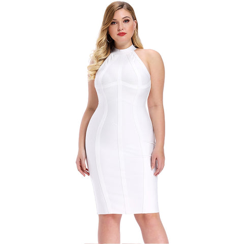 Plus Size Mini White cocktail Tank Bandage Dress