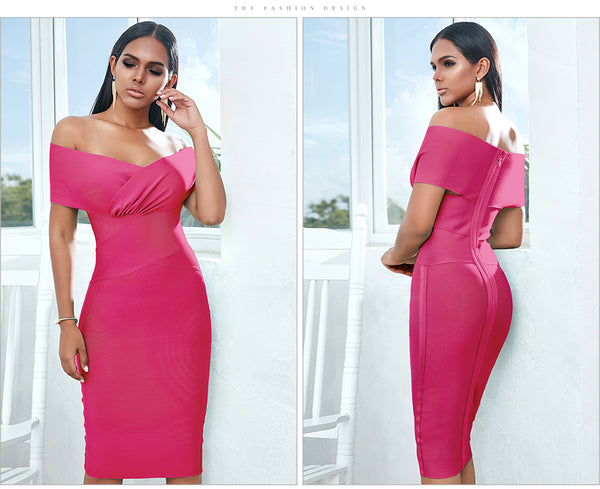 Red Off Shoulder Short Sleeves Midi Bodycon Bandage Dress