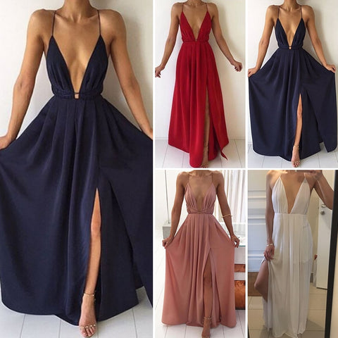 Deep V-Neck Sleeveless Spaghetti Strap Backless High Split Summer Maxi Dress