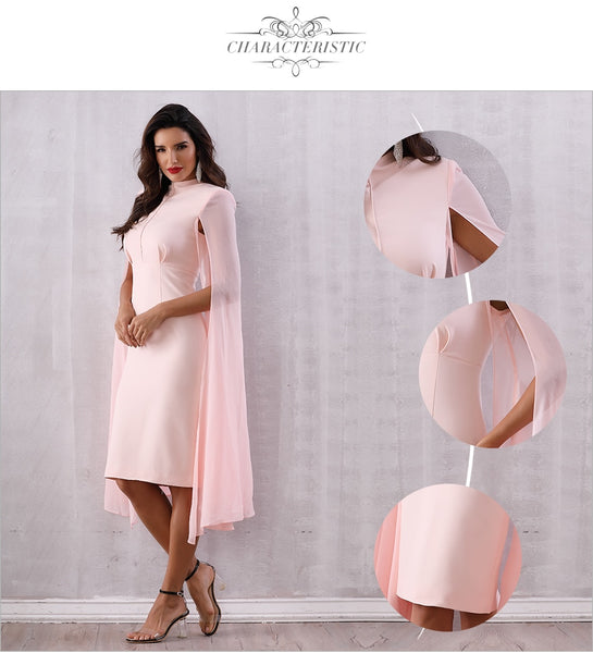 Pink O-Neck Batwing Sleeve Midi Luxury Midi Dresses