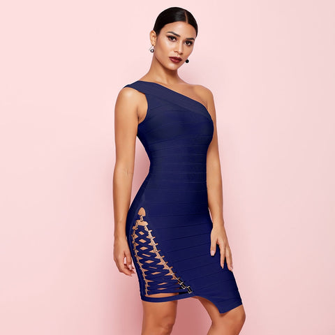 Royal Blue Sleeveless One-Shoulder Sequined Sexy Night Out Party Dress - More Colors Option Available!
