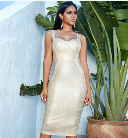 Gold Spaghetti Strap Runway Party Midi Dress