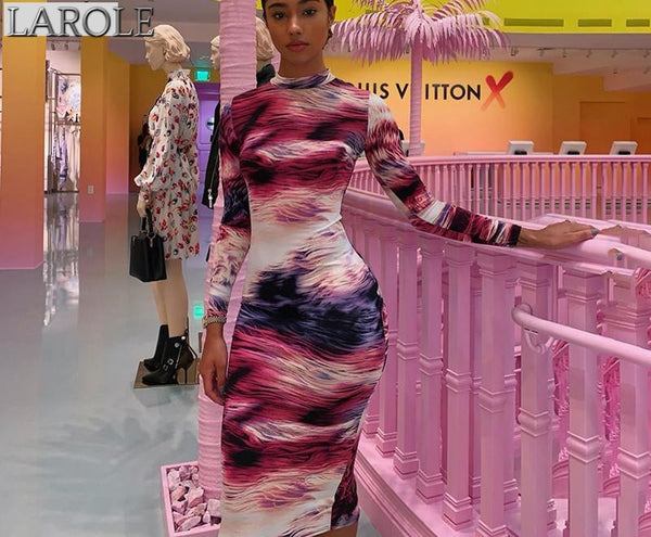 Print dye long sleeve colorful  bodycon dress