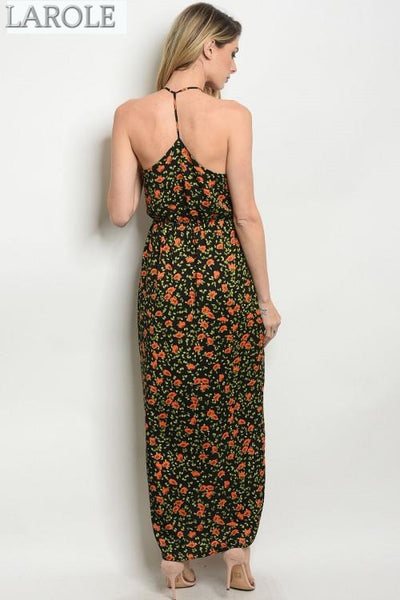 middle Split summer  Maxi Dress , woman V-neckline  floral maxi dress | Larole.com | Larole