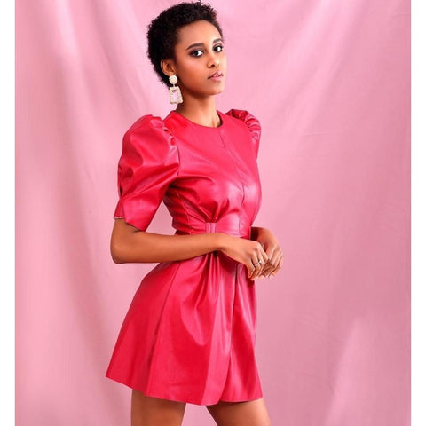 Red Round Neck Puff Short Sleeve Stretch PU Fit Mini Dress