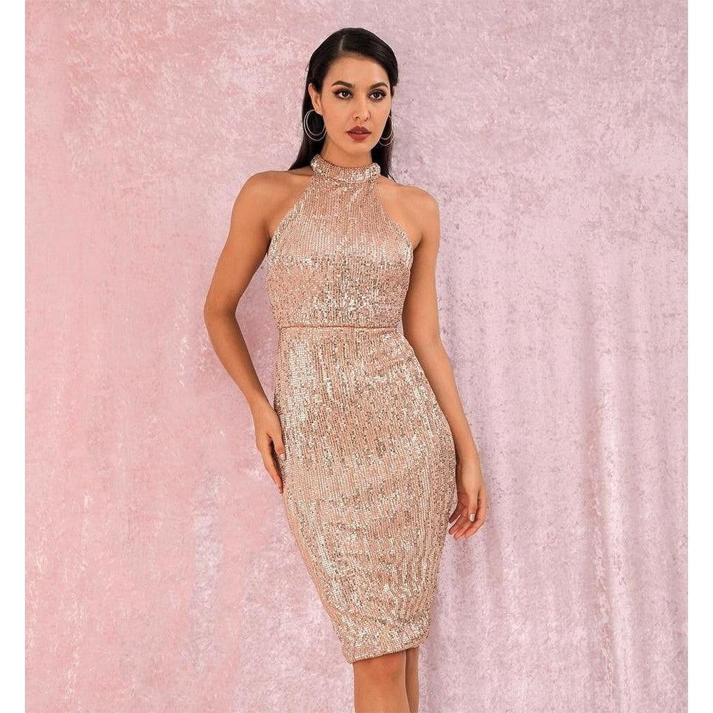 Rose Gold Sexy Halter Strapless Slim Fit Elastic Sequined Knee Party Dress