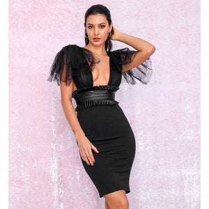 Black Bandage V-Neck Mesh And PU Decoration Bodycon Party Dress