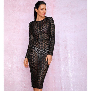 Black Perspective Mesh glitter gluer Bead Material Long Sleeve Party Dress