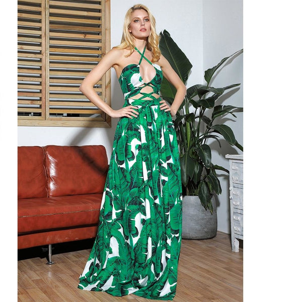 Green Print Cut Out Cross Straps Open Beach Maxi Dress