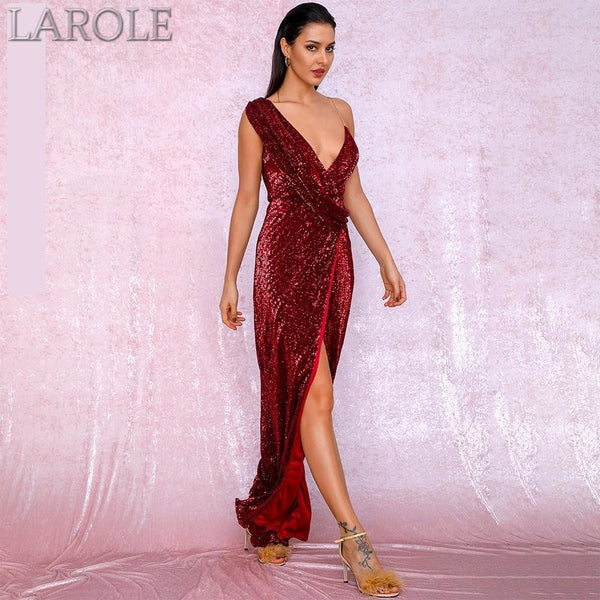 Red Deep V-Neck Whit Split Sequins Party Maxi Dress