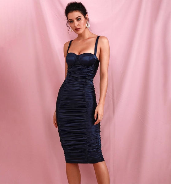 Navy Gold Tube Top Pleated On Both Sides Over Knee Party Dress