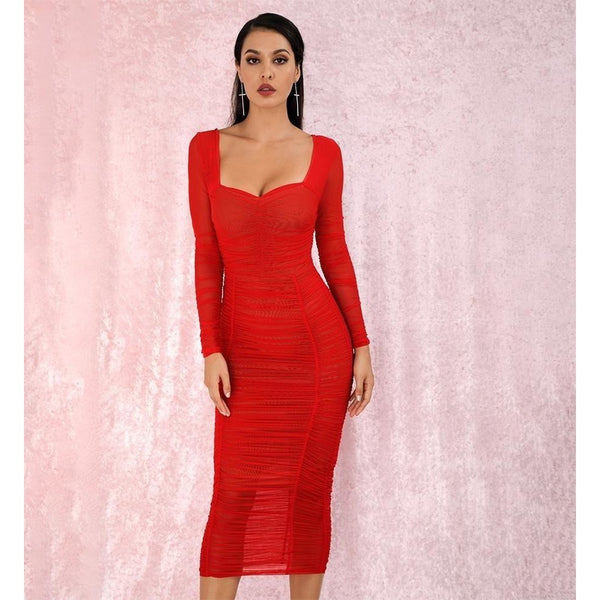 Square Collar Red Elastic Mesh Slim Long Sleeve Over-The-Knee Party Dress