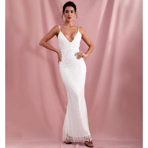 White Deep V-Neck Geometric Sequins Slim Fit Open Back Fishtail Party Maxi Dress