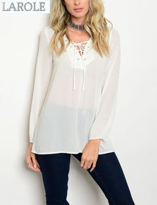 white lace up office blouse- larole