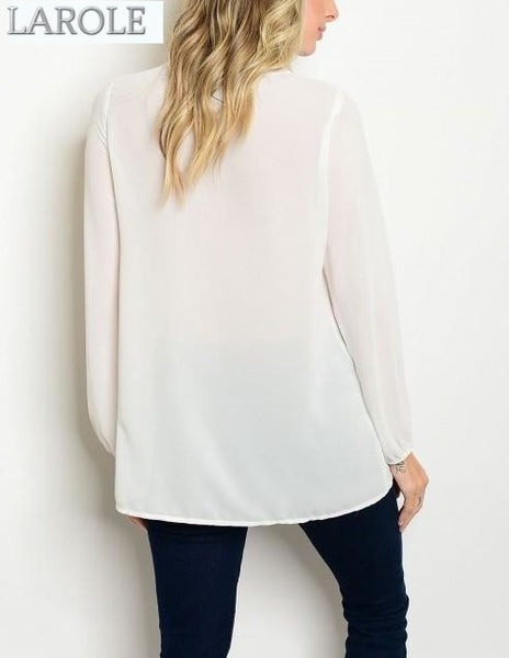 white long sleeve blouse from larole