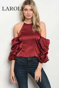 Larole- Long puff sleeve cold shoulder Burgundy satin blouse