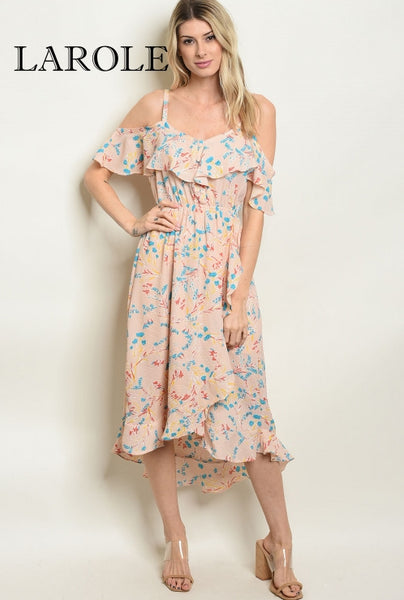 Larole  Short sleeve off the shoulder floral tunic summer dress