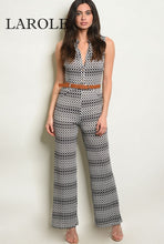 Load image into Gallery viewer, Larole Sleeveless V-neck printed belted black and white jumpsuit.