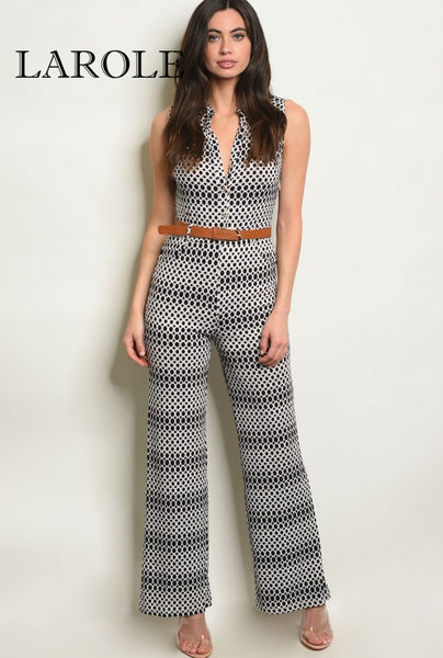 Larole Sleeveless V-neck printed belted black and white jumpsuit.