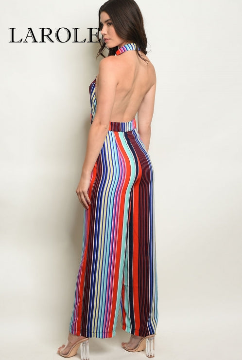 Larole  Sleeveless multi colored stripes backless jumpsuit