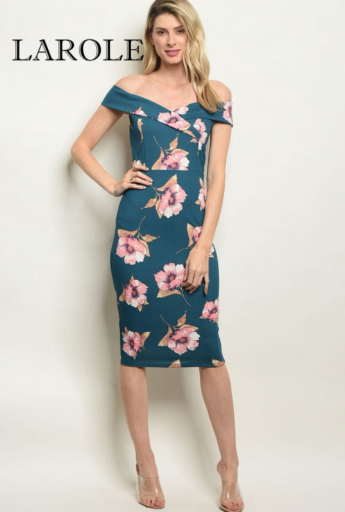 Larole Short sleeve off the shoulder teal floral midi dress