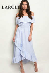 Larole | Short sleeve off the shoulder ruffled striped tunic maxi dress