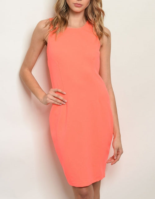 hot sexy neon coral bodycon dress, summer 2019 dress trend| larole.com