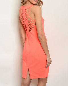 hot sexy neon coral bodycon dress, summer 2019 dress trend| Larole