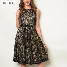 Load image into Gallery viewer, black midi lace black dress, Trendy and Sexy Dresses , Midi Dresses | Knee Length Dresses |larole.com, Women's midi dresses are perfect for many occasions, from a cocktail party to a wedding
