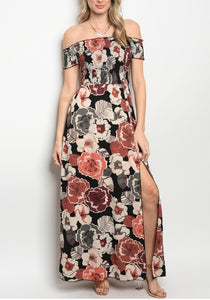 Side Split Beach Maxi Dress , woman off shoulder floral maxi dress | Larole.com | Larole