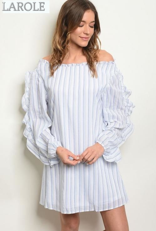 LAROLE| LONG SLEEVES BLUE WHITE SHIRT DRESS