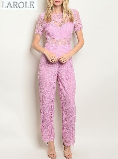 Short sleeve round neckline all over pink lace jumpsuit | Larole