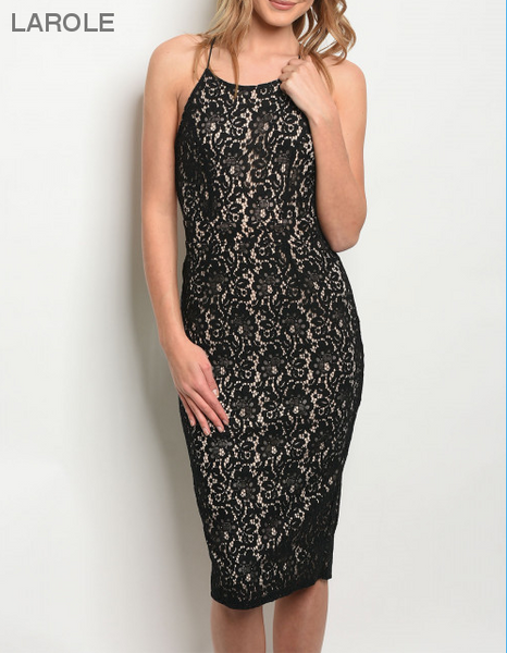 Criss cross open back midi lace black dress, Trendy and Sexy Backless Dresses , Black Open Back Midi Dress
